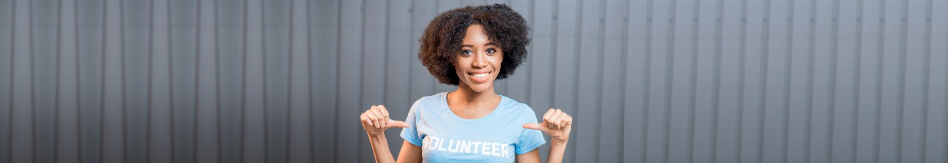woman volunteering herself campaign program